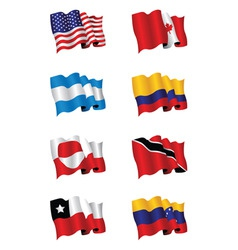 americas flags vector image vector image