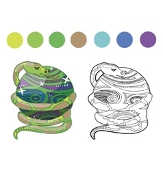 coloring book snake vector image