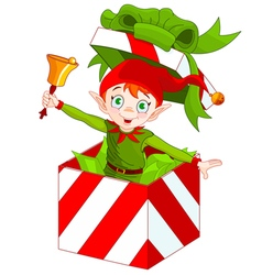 Elf Popping out of a Christmas Box vector image vector image