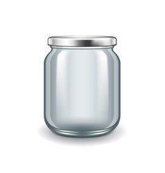 empty glass jar isolated on white vector image