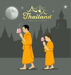 thai monks and novice in buddhist light waving rit vector image vector image