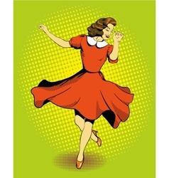 Beautiful woman dancing in vector