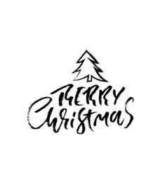 hand drawn phrase merry christmas modern dry vector image