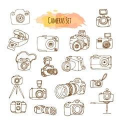 Photo Cameras Hand Drawn vector image