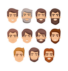 white background with male faces with hair and vector image