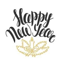 with hand drawn text Happy New Year Christmas vector image vector image
