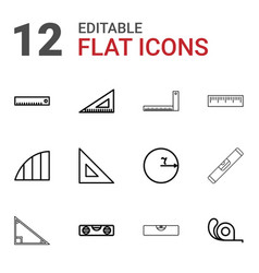 12 ruler icons vector
