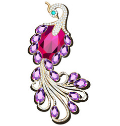 a jewelry peacock brooch with precious stones vector image