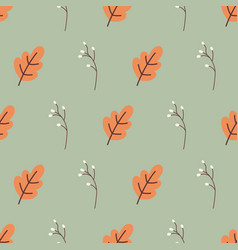 acorn leaves and wildflower grass seamless vector image