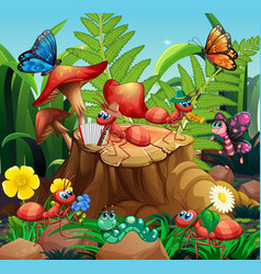 Ant musical band playing in nature vector