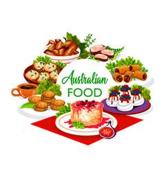 Australian cuisine food lunch dinner meals menu vector