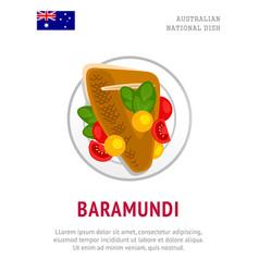 baramundi traditional australian dish vector image