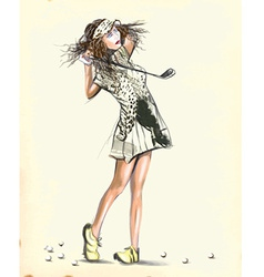 Beautiful golf player - An hand painted vector image