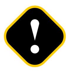 Black rhomb exclamation mark icon warning sign vector