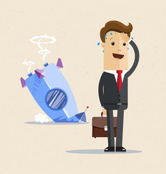 Businessman and rocket crashed business failure vector