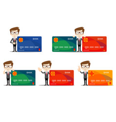 businessman in different poses with a plastic vector image