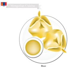 Buuz or Mongolian Dumpling Served with Sauce vector