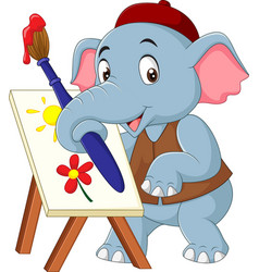Cartoon cute elephant drawing a picture vector