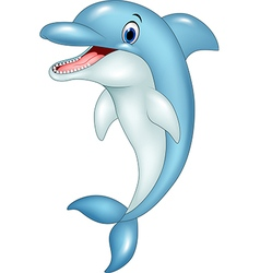 Cartoon funny dolphin jumping vector