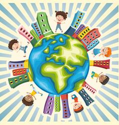 Children playing around world vector