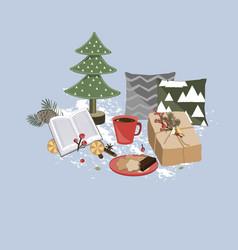 christmas composition gift pillows fir tree vector image