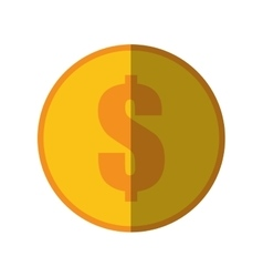 Coin dollar money currency icon color shadow vector