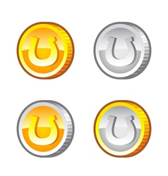Coins with horseshoe vector