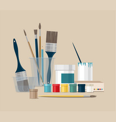 color paints and brushes tools vector image