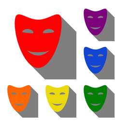 comedy theatrical masks set of red orange vector image
