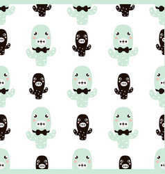 Cute seamless pattern wirh cactus characters vector