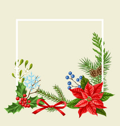 Decorative frame with winter plants vector