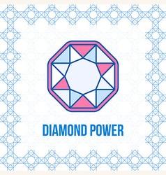 Diamond outline icon top view vector image