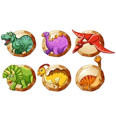 different types dinosaurs on round buttons vector image