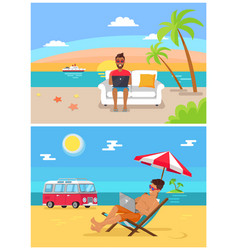 distant work sea collection vector image