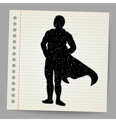 Doodle superhero silhouette vector