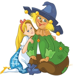 dorothy and scarecrow wizard oz cartoon vector image