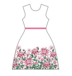 dress design with chrysanthemum and peony vector image