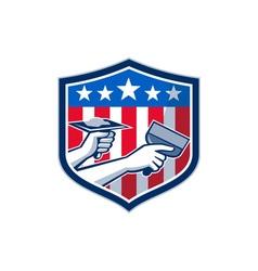 Drywall repair service american flag shield retro vector