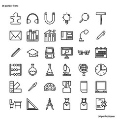 education and learning outline icons perfect pixel vector image