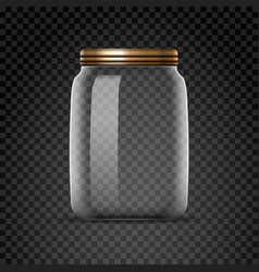 empty glass jar isolated on transparent background vector image