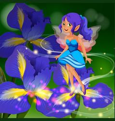 Fairy flying around flower garden vector
