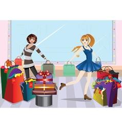 Fashion Girls at Shopping2 vector