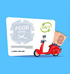 food delivery service template banner emblem vector image