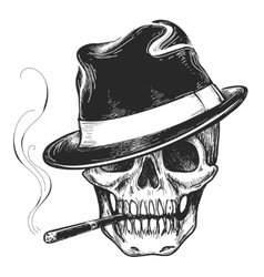 Gangster skull tattoo vector image