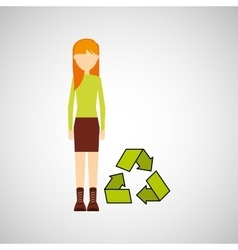 Girl concept ecological recycle vector