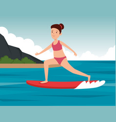 Girl practice surfing activity in landscape vector
