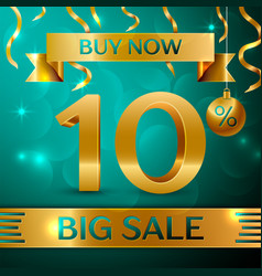 gold big sale ten percent for discount vector image