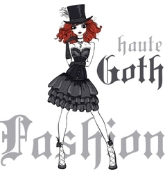Goth girl in black dress and silk hat vector
