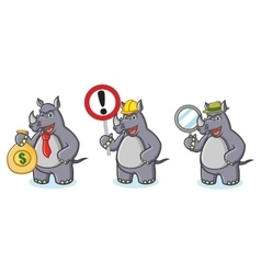Gray Rhino Mascot with sign vector image