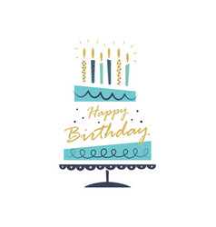 Greeting card with hand drawn cake happy birthday vector